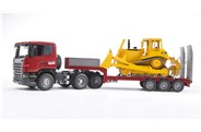 Bruder Scania R-series Low Loader Truck With Cat Bulldozer 1:16