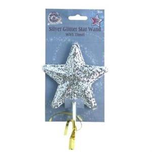 Silver Glitter Wand With Tinsel